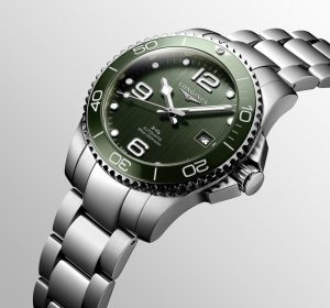 Longines HydroConquest Tauchruhr in Grün mit Stahlband