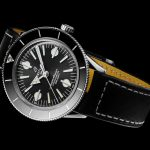 Superocean Heritage '57 with a black dial and a black vintage-inspired leather strap