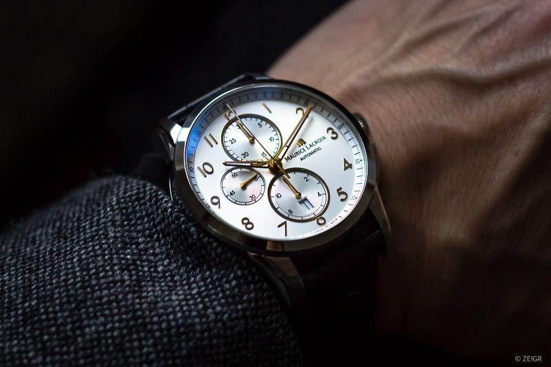 Wristshot: Maurice Lacroix Pontos Chronograph silber rose-gold