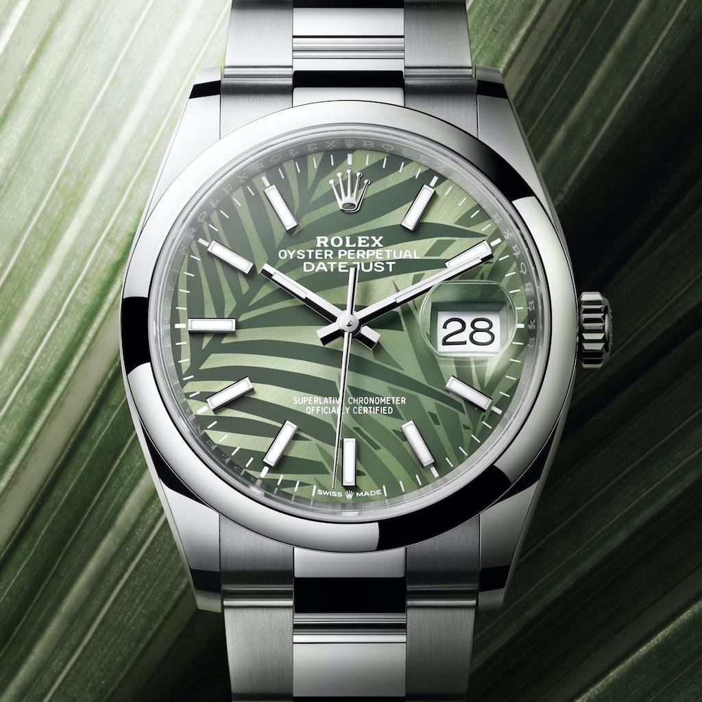 Rolex Datejust 36 2021 grün Palmenmuster