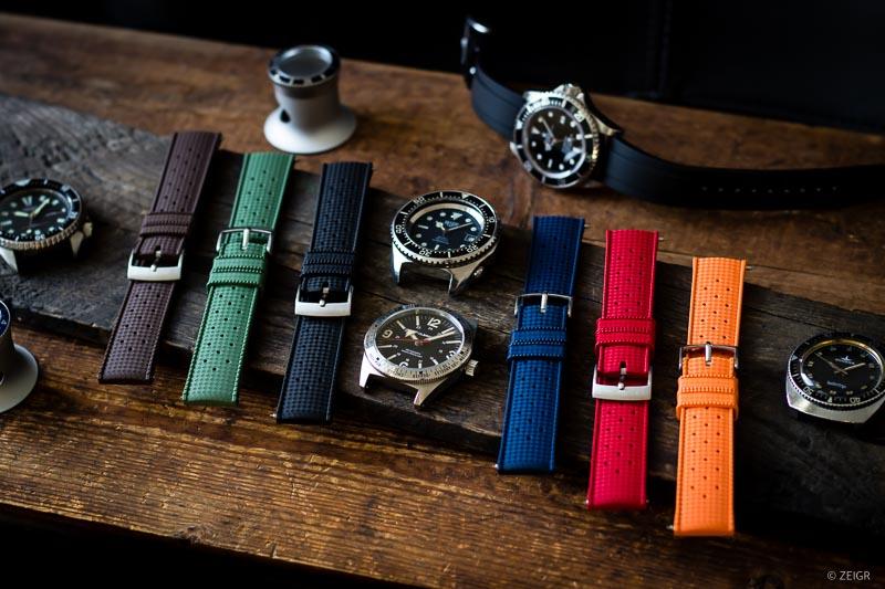Kautschuk Uhrenarmbänder Farben Tropic RLX Titelbild