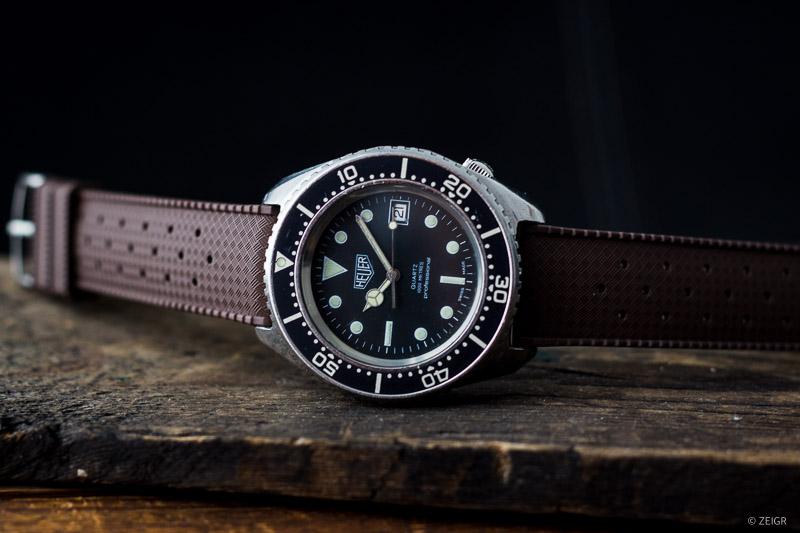 Kautschuk-Uhrenarmbänder 20 mm Braun Heuer Vintage Taucheruhr