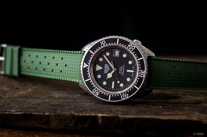 Kautschuk-Uhrenarmbänder 20 mm Grün Heuer Vintage Taucheruhr