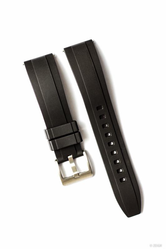 Kautschuk-Uhrenarmband RLX schwarz 22 mm Rubber