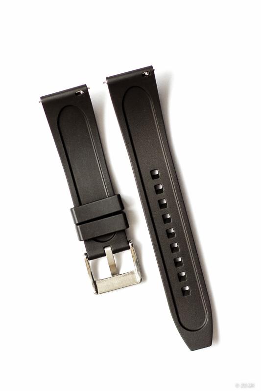 Kautschuk-Uhrenarmband RLX schwarz 22 mm Rückseite