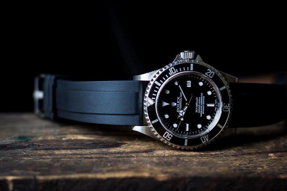 Kautschuk-Uhrenarmbänder Rolex Sea-Dweller Submariner 20mm Schwarz