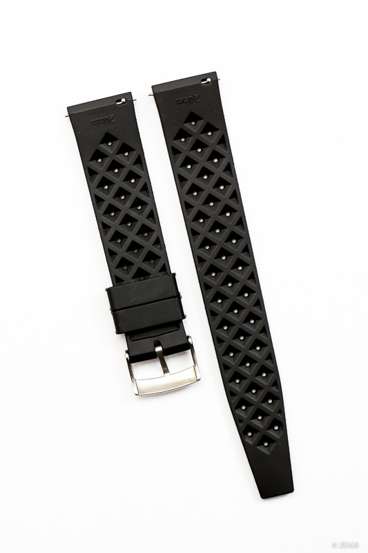 Kautschuk Uhrenarmband Schwarz 20 mm Quick Release