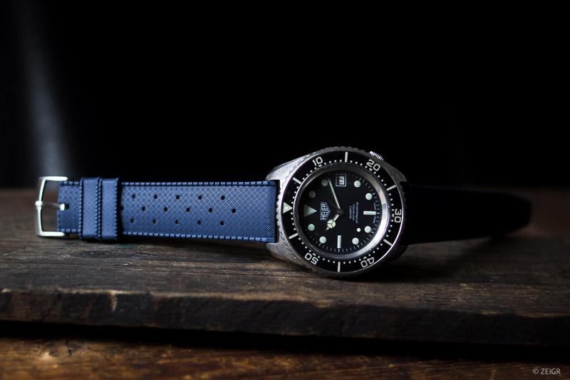 Uhrenarmband Kautschuk 20 mm blau Schnellverschluss